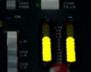 Audio Mix Console. The indicator of level of a signal.