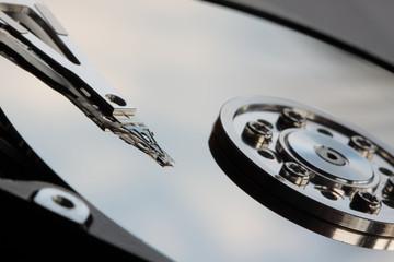 Detailaufnahme einer Festplatte
