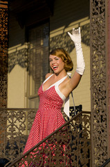 retro woman waiving
