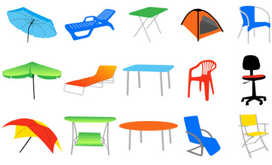 Illustration of home and summer set