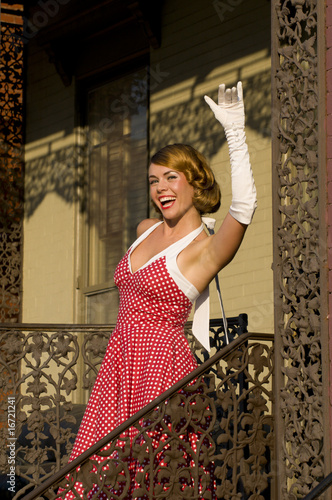 retro woman waiving