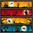 4 Halloween horizontal banners of ghost towns