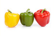 Group of Bell Peppers, isolated on white background.