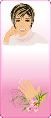Manicure. Flowers and portrait of beautiful woman. Vector