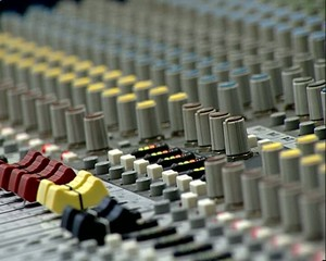 Audio Mix Console. The indicator of level. Faders. Macro.