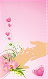 Womanish and masculine hands. Romantic background for wedding poster