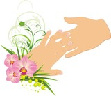 Womanish and masculine hands. Romantic composition. Vector poster