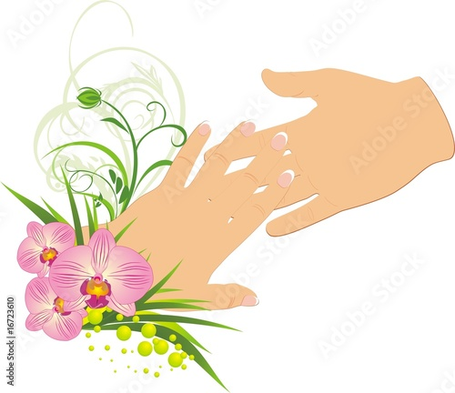 poster of Womanish and masculine hands. Romantic composition. Vector