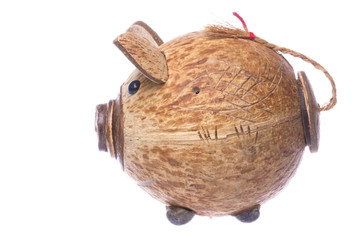 Coconut Shell Piggy Bank Isolated