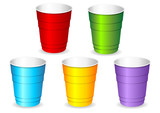 Colorful plastic party cup set over white