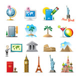Fototapety travel icons - famous places