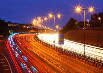 A406 Motorway in London at night-time