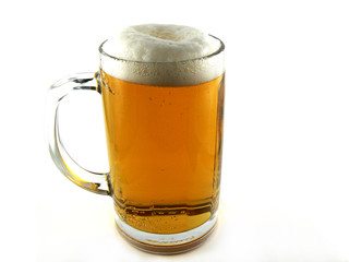 Beer goblet on white background