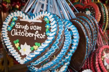 Lebkuchenherzen auf dem Münchner Oktoberfest