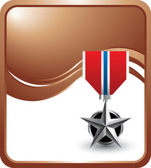 Military medal on bronze wave background