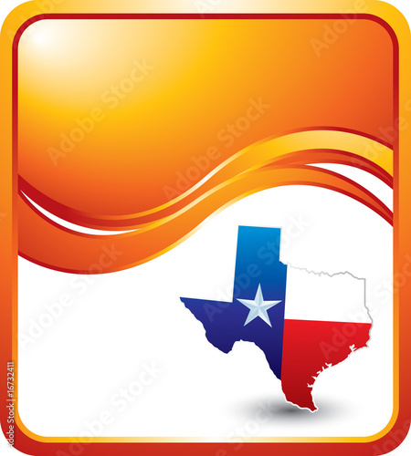 Texas icon on orange wave background