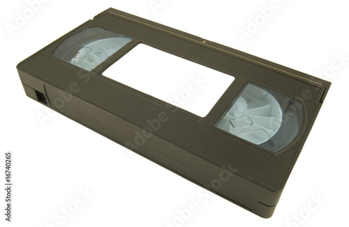 video tape with blank label laying down on white background