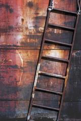 Old rusty metal ladder