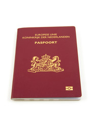 One Dutch passport over white background