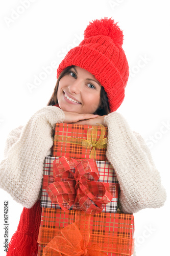 Woman with gifts smiling