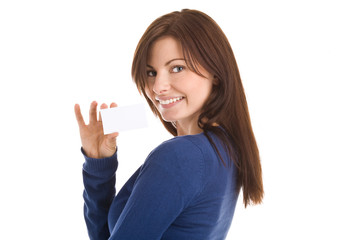Portrait of young woman holding blank business card