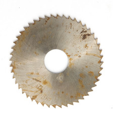 old Circular saw isolated over a white background