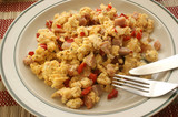 scrambled eggs with organic tomato and bacon poster