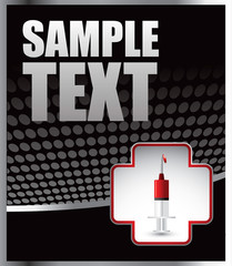 First aid icon with syringe on black halftone banner