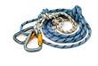 Leinwandbild Motiv climbing equipment - carabiners and rope