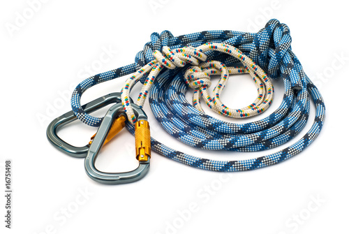 Canvas Alpinisme climbing equipment - carabiners and rope