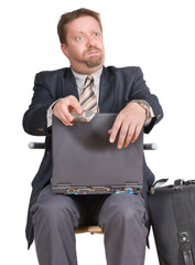 Bewildered travelling businessman