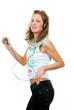 Girl enjoys listening to music