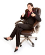 Businesswoman Sitting on a Leather Chair with Thumbs Up