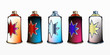 cool spray aerosol set in different colors decorated with star