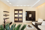 Fototapety Modern Drawing-room interior in warm tones