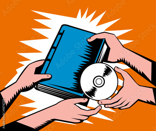 Hand holding book exchanging cd dvd disc