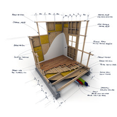 Cube techno ossature bois croquis