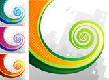 Spiral chameleon tail with city background. Vector layered.