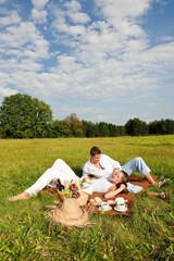 Young couple having picnic in meadow