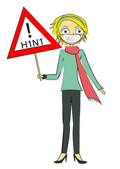 fem panneau attention H1N1