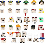 Set of 34 icons representing different professions poster
