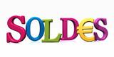Fototapety Soldes 3D en typos différentes couleurs avec euros