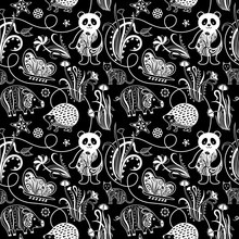 Abstract Floral and Pattern SEAMLESS Animaux