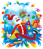 Crazy Santa in a hurry poster