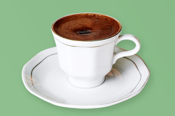 Coffee in a porcelain cup. (Isolated Image)