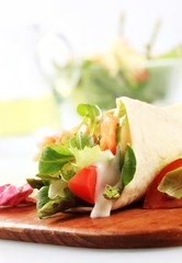 Salmon salad tortilla wrap