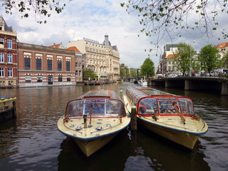 Tourist boats in Amsterdam