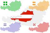 layered vector pixel map and flag of Austria. poster