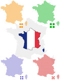 4 different vector pixel map and flag of France. poster