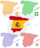 different vector pixel map and flag of spain. poster